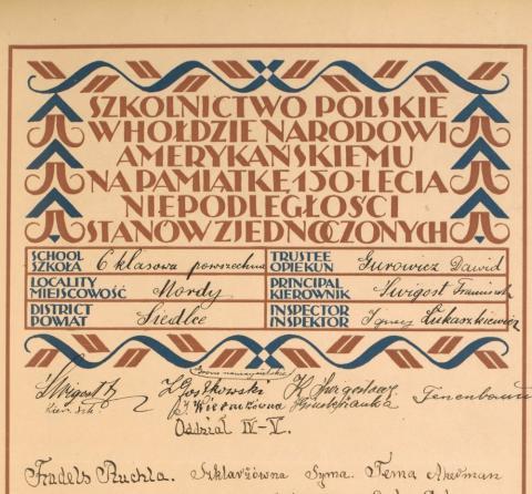fragment Deklaracji Podziwu i Przyjaźni dla Stanów Zjednoczonych