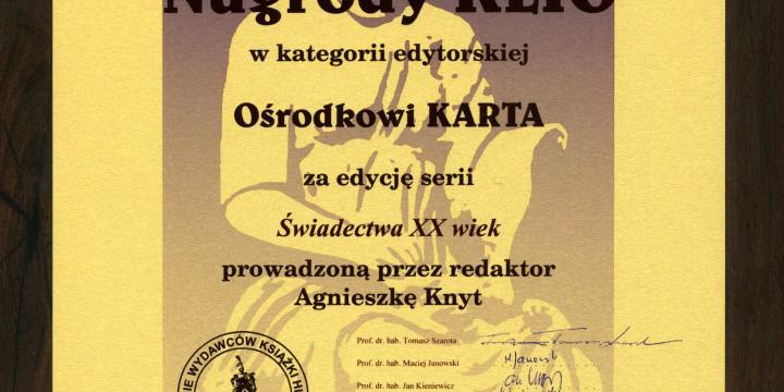 dyplom Nagrody KLIO