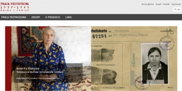 zrzut ekranu portal Praca przymusowa 1939 - 1945